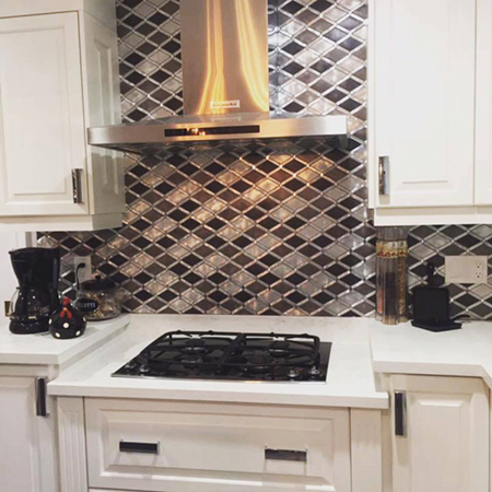 Silver and Charcoal Diamond Metal Mosaic by Kate-Lo Tile and Stone.