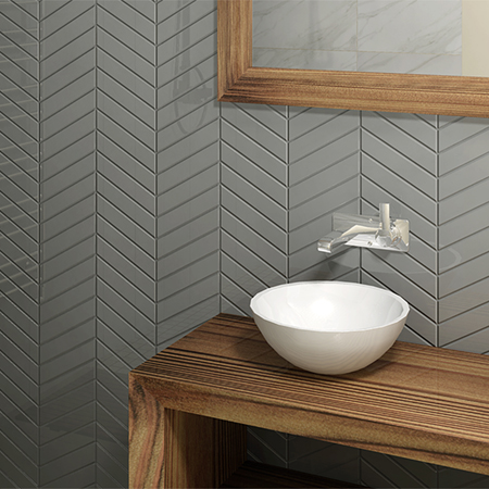 Color and Dimension Chevron glazed ceramic wall tile bathroom tile installation