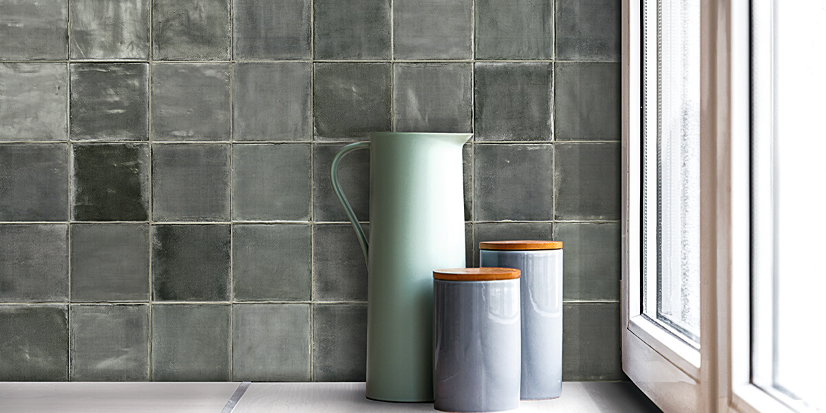 Fresh Thyme Ceramic Wall Tile T Square Sartoria