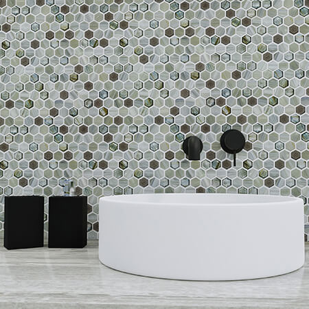glassique anthology hexagon glass mosaic tile